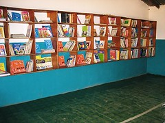 Special shelving constructed to take the books