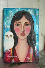 The Snow Walker (pinkglitterfae) Tags: portrait girl illustration painting acrylic native owl inuit figurative thesnowwalker