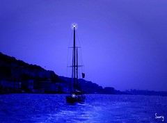 Night sailing (*Saariy*) Tags: blue sea fab sky canon turkey boat scenery sailing view trkiye scene