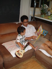 Reading book at party