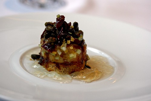 Foie Gras Brûlée, Dried Sour Cherries, Candied Pistachios and White Port Gelée