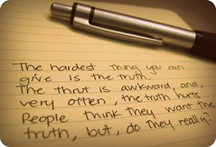 the truth... really? (..dri..) Tags: moleskine truth message quote mensajes verdades greysanatomy gaquote