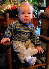 Ian in the rocking chair that belonged to Grandpa Bell when he was little.