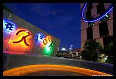 Field of Play, Docklands (Adam Dimech) Tags: city light sculpture game art wall digital port evening twilight neon harbour dusk seat australia melbourne victoria docklands 1010 digitalharbour port1010 fieldofplay troyinnocent