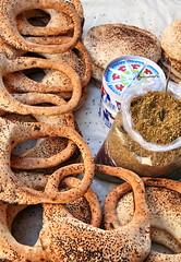 Bread Rings and Zaatar (hazy jenius) Tags: world street trip travel lebanon food cheese bread yummy market herbs middleeast stall seeds delicious rings journey syria bazaar damascus souq thyme oldcity sham cham global dimashq ashsham zataar