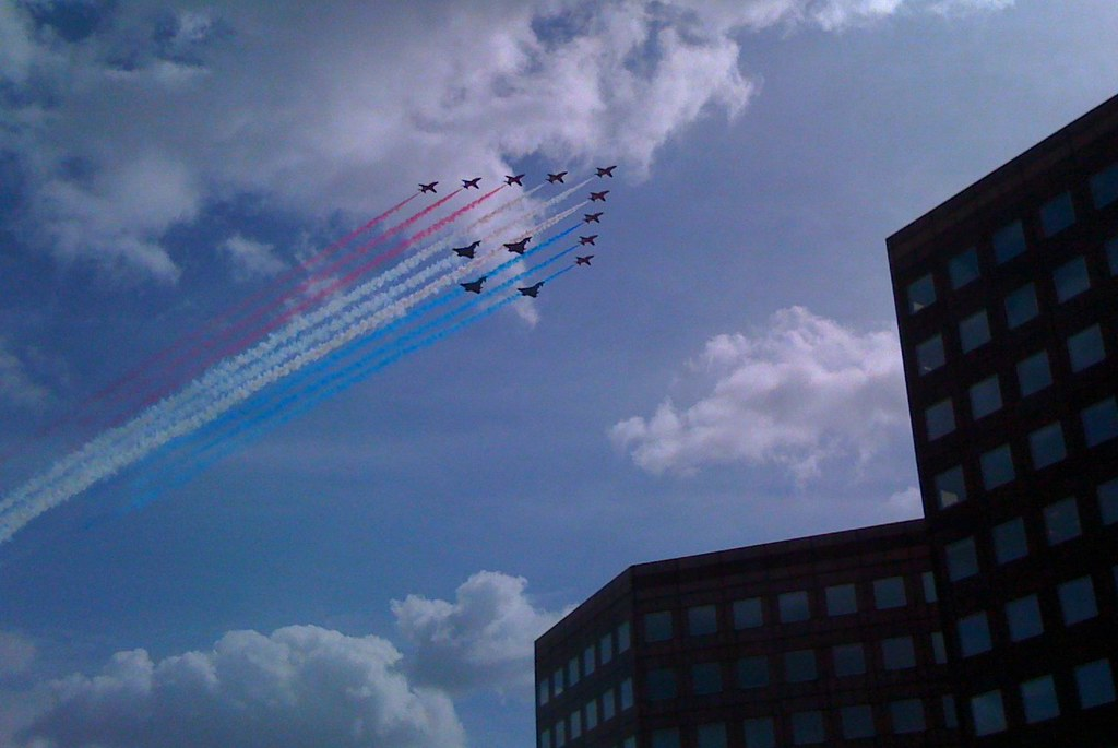 Red Arrows Fly Past London Bridge