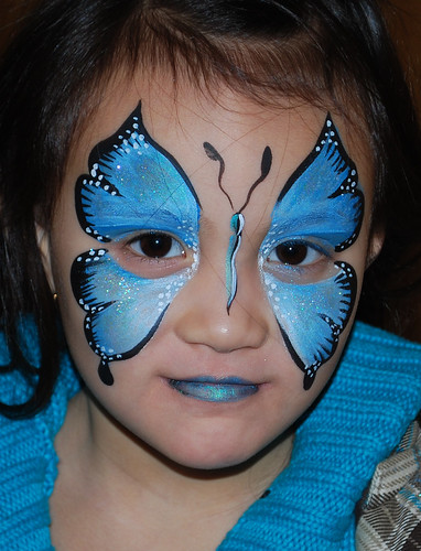 Blue Butterfly Face Painting por steelbluebutterfly