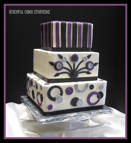Black Purple and Silver Retro Wedding Cake