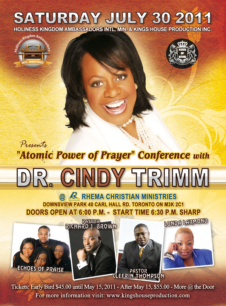 Dr  Cindy Trimm is coming to Rhema Christian Ministries Toronto