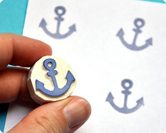 Anchor hand carved rubber stamp