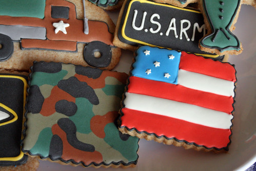 Camouflage and Flag cookies