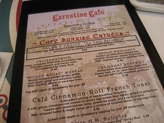The Carnation Café menu. (09/30/07)