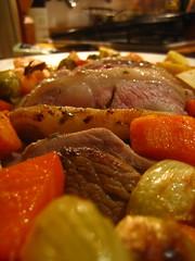 Roast lamb and winter vegetables