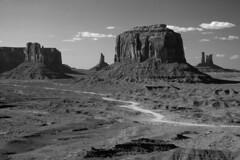 Monument Valley (Gary Cattell) Tags: road arizona bw white black monument desert az valley navajo dust mesa lanscape