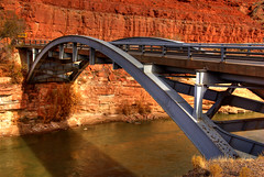 San Juan River Bridge, Mexican Hat, Utah (Thad Roan - Bridgepix) Tags: bridge cliff architecture river utah rocks arch steel gray bridges arches explore redrocks span hdr mexicanhat bridging sanjuanriver photomatix bridgepixing bridgepix 200711 superbmasterpiece