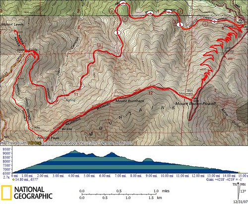 Mount Baden-Powell ridge traverse Topo Map