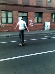 Matt skating outside Carling's house in Brunswick at 5am this morning (1)