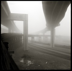 MacArthur Maze and former Key System trestle in fog (efo) Tags: railroad trestle bridge bw fog oakland highway freeway superikonta