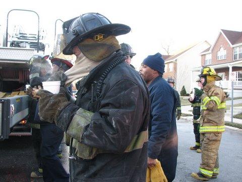 the firemen appreciate the hot cocoa
