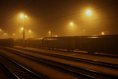 Lonely Trains (Esben.from.Denmark) Tags: station yellow fog night train evening quiet empty foggy lonely banegrd togspor emsj