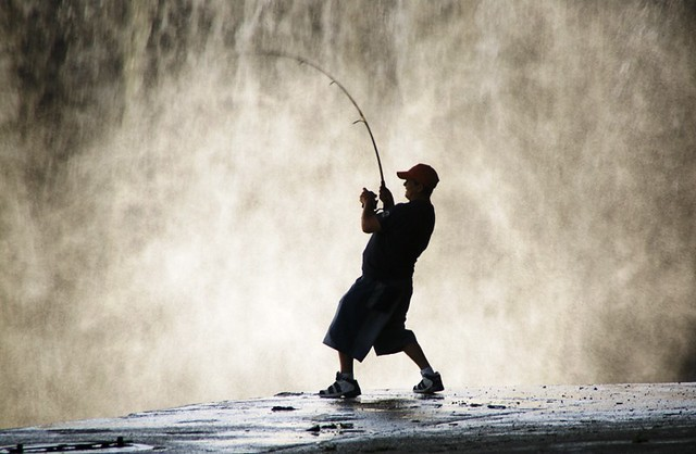 fishing by the falls