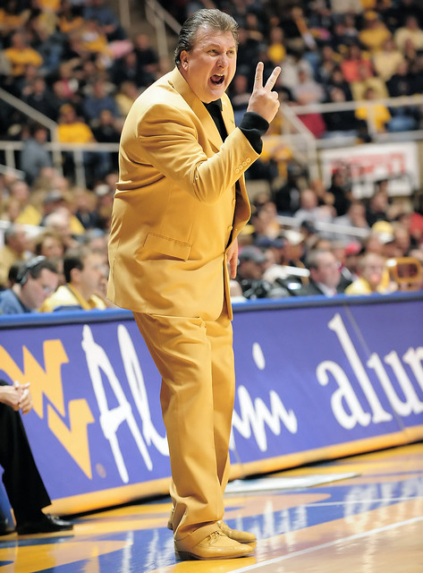 Bob Huggins sports his custom made suit proudly displaying the Mountaineer