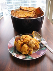 Sweet Potato Cornbread Pudding with Maple Cream