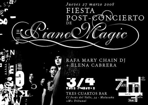 Flyer fiesta post-concierto de Piano Magic