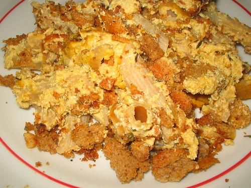 pumpkin baked ziti on a plate