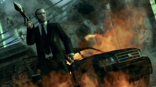 Nico portando un lanzagranadas en GTA IV