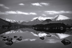 Lochan na h-Achlaise Black and White (David Kendal) Tags: blackandwhite lake snow mountains reflection water reflections landscape mono mirror scotland searchthebest scottish monotone loch portfolio rannochmoor blackmount lochannahachlaise achlaise aplusphoto lochanachlaise thewanderlust