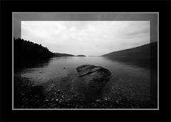 Shoreline Slabs (mel.hunter) Tags: blackandwhite bw monochrome scotland landscapes blackwhite lowlight scenery wideangle monochromatic lochlomond sigma1020mm rowardennan scottishscenery scottishlandscapes