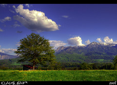 Panorama: Hagen (Klaus_GAP™ - taking a timeout) Tags: blue sky mountains tree green clouds photoshopped hütte meadow wiese himmel wolken berge hut grün blau baum hdr hdri theunforgettablepictures theperfectphotographer goldstaraward softmapped