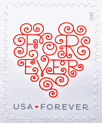 Forever-HMM! (Busy Packing!!!) Tags: macromondays macro heart stamp forever 2015 white red curly letters grey