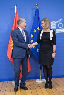 Federica Mogherini receives Almazbek Atambayev, President of Kyrgyzstan