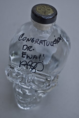 Crystal Head Vodka View 2 (evaxebra) Tags: dan glass skeleton skull 50mm bottle eva crystal head alcohol booze vodka fiddy personalized signed autographed ewa aykroyd xebra akroyd evaxebra crystalheadvodka
