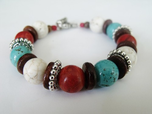 http://www.etsy.com/listing/73889627/turquoise-howlite-and-red-coral-sponge by mSs Distinctive Designs Studio