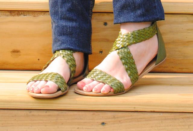 olive green sandals