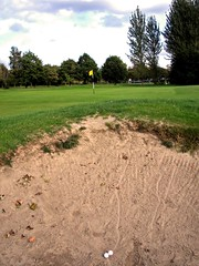 Bunkered at Carrick Knowe golf course, Edinburgh