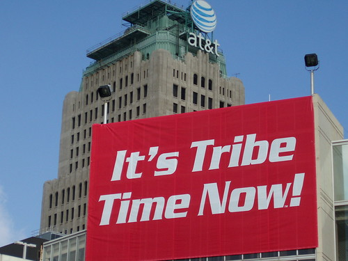 It's Tribe Time Now sign on parking garage at Jacobs Field