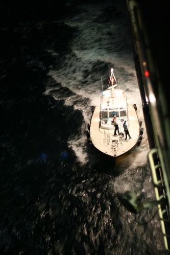 Pilot boat meets ship