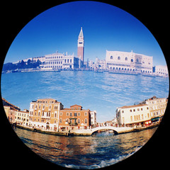 Venezia (Mas-Luka) Tags: travel november blue venice sea sky italy orange tower tourism water architecture landscape lomo lomography holidays europa europe italia novembre mare cityscape doubleexposure fisheye campanile journey venezia vacations architettura scenics canale 2007 veneto buildingexterior builtstructure