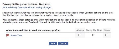 Facebook Beacon: Privacy Settings for External Websites (2)