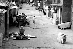 Small street in Urumqi (Pawel Boguslawski) Tags: life china street people bw canon asia urumqi 400d mainlanderchina fds24h