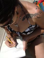 Janara-me-desenha versão praia (DeniSomera) Tags: woman praia beach drawing mulher tatoo talento tatuagem biquini desenha janara
