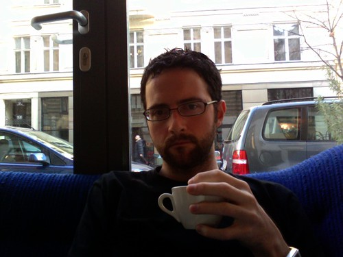 at Phil, in Vienna, drinkin' coffee