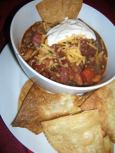 Chili and Homemade Tortilla Chips
