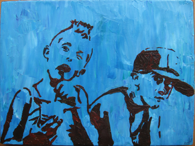 Stencil Portrait - Amy's two sons