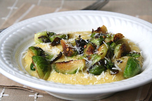 Polenta with Brussel Sprouts and Parmesan