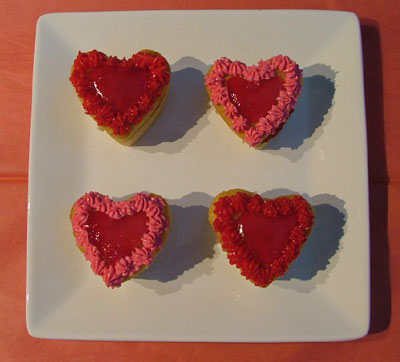 Red Glazed Heart Cupcakes